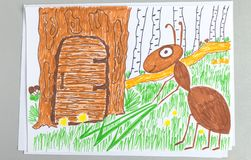 Kid drawing of ant holding green blade of grass near door of his house in tree stock illustration