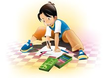 Kid drawing. Color, paper, pencil Royalty Free Stock Image