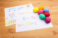Kid drawing for easter holiday Royalty Free Stock Photography