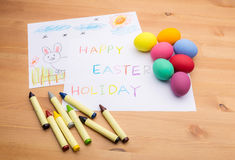 Kid drawing for easter holiday Stock Image