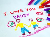 Father`s day theme with I LOVE YOU DADDY message. Kid drawing of father holding his child for happy father`s day theme with I LOVE YOU DADDY message stock photos