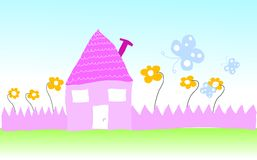 Kid. Drawing  - house with flower and butterfly Royalty Free Stock Photo
