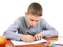 Kid is Drawing Stock Image