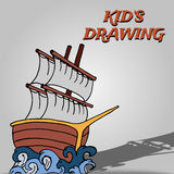 Kid drawing ship Stock Photos