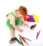 Kid drawing. Top view Stock Image