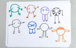 Kid drawings set of different animal body with arms and legs royalty free illustration