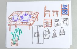 Kid drawings set of different kitchen furniture and tableware. Child outline scribble of table and chair, various utensil equipment and houseplant isolated on royalty free stock photo