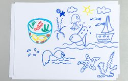 Kid drawings set of different sea animals and elements royalty free stock image