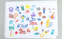 Kid drawings set of different summer beach vacation accessories and elements stock illustration