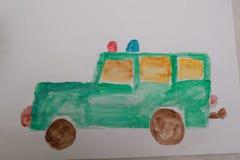 Kid draws car a watercolor brush Stock Images