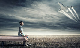Kid dream to become pilot Royalty Free Stock Images