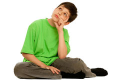 Kid dreaming about his plans realization Stock Image