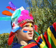 Kid dressed as Injun Stock Photography