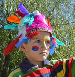 Kid dressed as Injun Royalty Free Stock Images