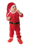 Kid dressed as Santa Claus. Isolated. White background Royalty Free Stock Photo