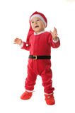 Kid dressed as Santa Claus. Isolated. White background Royalty Free Stock Image