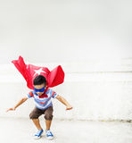 Kid Dressup Superhero Fly Concept. Kid Dressup Superhero Costume Fly Stock Photos