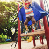 Kid Dressup Superhero Playground Concept Stock Photo