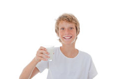 Kid drinking milk Stock Image