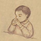 Kid drinking - sketch on sepia paper. A kid is drinking. Hand drawing on sketchbook stock illustration