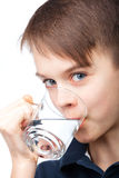 Kid drinking water Stock Photos