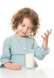 Kid drinks milk Stock Photo