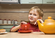 Kid drinks tea with cakes Royalty Free Stock Photo