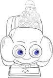 Boy drive Toy Joy Car with smile Royalty Free Stock Photos