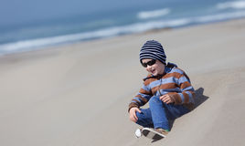 Kid at dunes Stock Photo