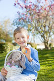 Kid at easter time. Cute little boy with basket full of eggs and plush bunny toy at easter and spring time with blooming magnolia in the background stock photo