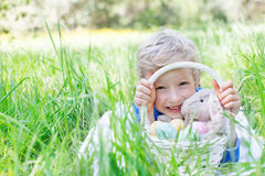 Kid at easter time Stock Photos