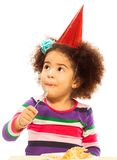 Kid eating birthday cake Stock Photo
