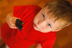 Kid eating bread with bilberry jam Royalty Free Stock Image
