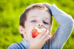 Kid eating fruits Stock Photography