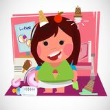 Kid, eating, girl, cold, tongue, delicious, pigtail, sweet, red. Cute girl eating ice-cream in her room. character design  -  illustration Stock Photography