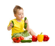 Kid eating healthy food Stock Image