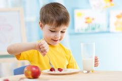 Kid eating healthy food at home. Kid boy eating healthy food at home or kindergarten royalty free stock photo