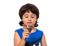 Kid eating ice cream Stock Photo
