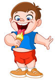 Kid eating icecream. Happy kid eating ice cream Royalty Free Stock Photography