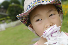 Kid eating Icecream Stock Photography