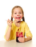 Kid eating jam Royalty Free Stock Photography