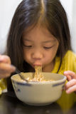 Kid Eating Noodle Royalty Free Stock Images