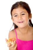 Kid eating pizza Stock Photography