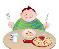 Kid eating Pizza. Illustration of a cute funny little fat boy eating pizza.vector available Stock Photo