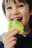 Kid eating salad Stock Images