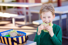 Kid eating school lunch. Beautiful positive schoolboy enjoying healthy lunch during recess outdoor Royalty Free Stock Photos