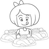 Kid eating spaghetti coloring page Stock Photo