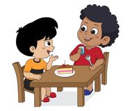 Kid eating and talking with friends.Vector. In the morning,Kid eating and talking with friends.Vector and illustration Royalty Free Stock Image