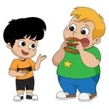 Kid eating and talking with friends.Vector. In the morning,Kid eating and talking with friends.Vector and illustration Stock Photos
