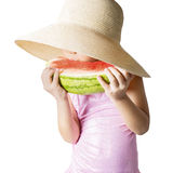Kid eating watermelon in studio Royalty Free Stock Photography